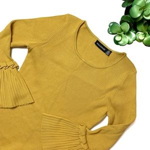 Nina Leonard Mustard Yellow Midi Dress